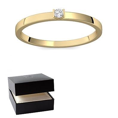 Goldring schmal  Verlobungsring Gold 585 Diamant 0,04 Carat H/si **sehr gute ...
