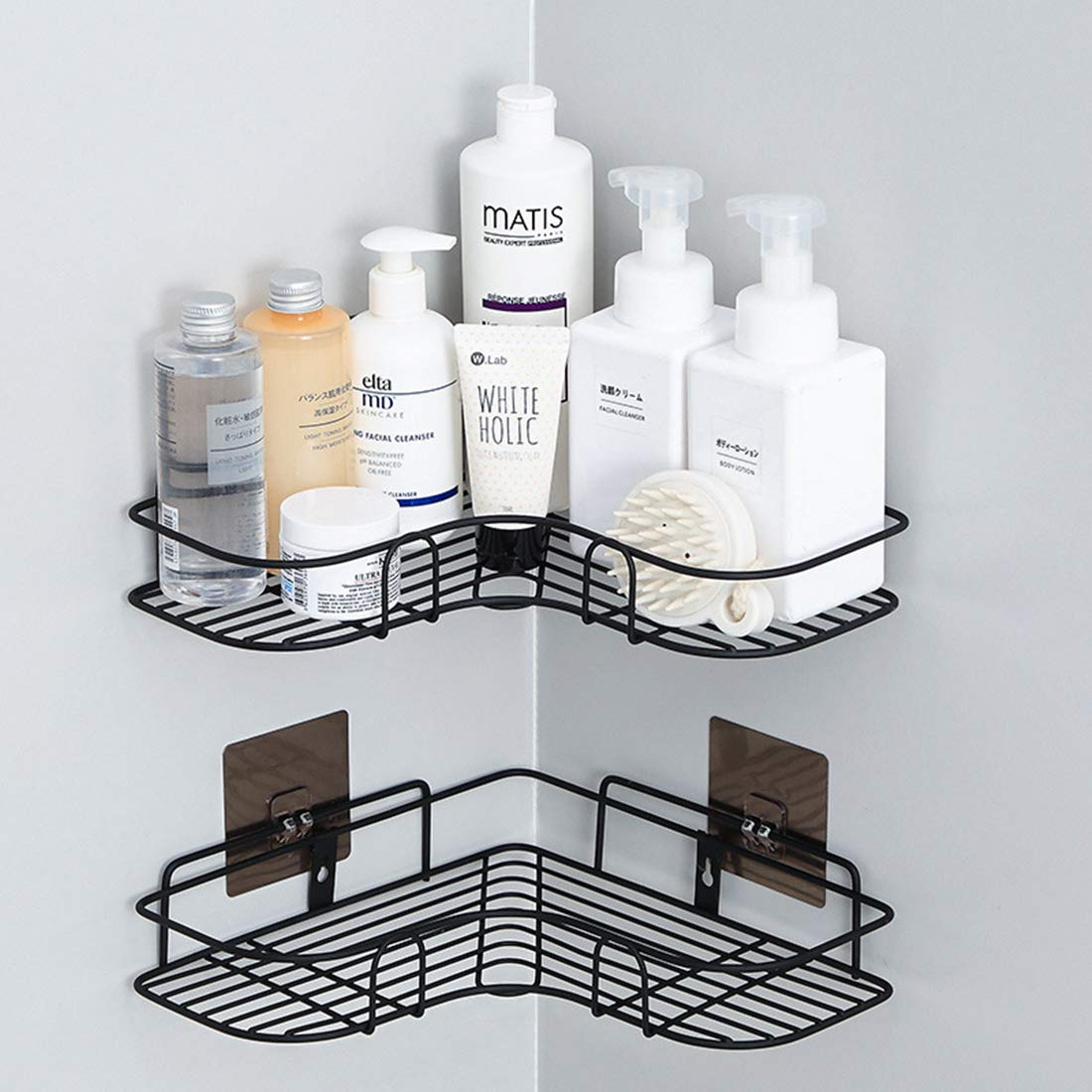 IALUKU Bathroom Shower Shelf, Set of 2, Adhesive Metal Wall Mounted Storage Organized Rack for Shower Caddy,Triangle Basket No Drilling, Design for Bathroom Bedroom Living Room and Kitchen by IALUKU