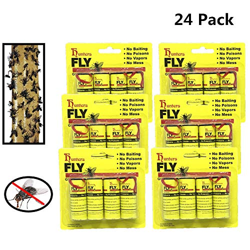 24 PCS Dragon Hunters Fly Trap, Fly Trap Tape, Fly Paper Strips, Fly Catcher Trap, Fly Ribbon, Fly Bait,Fly Catcher Ribbon