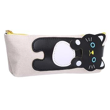 Gluckliy - Estuche de lona para lápices de gatos, estuche de almacenamiento con cremallera, multifuncional, bolsa de cosméticos, color beige 17*3*7cm: ...