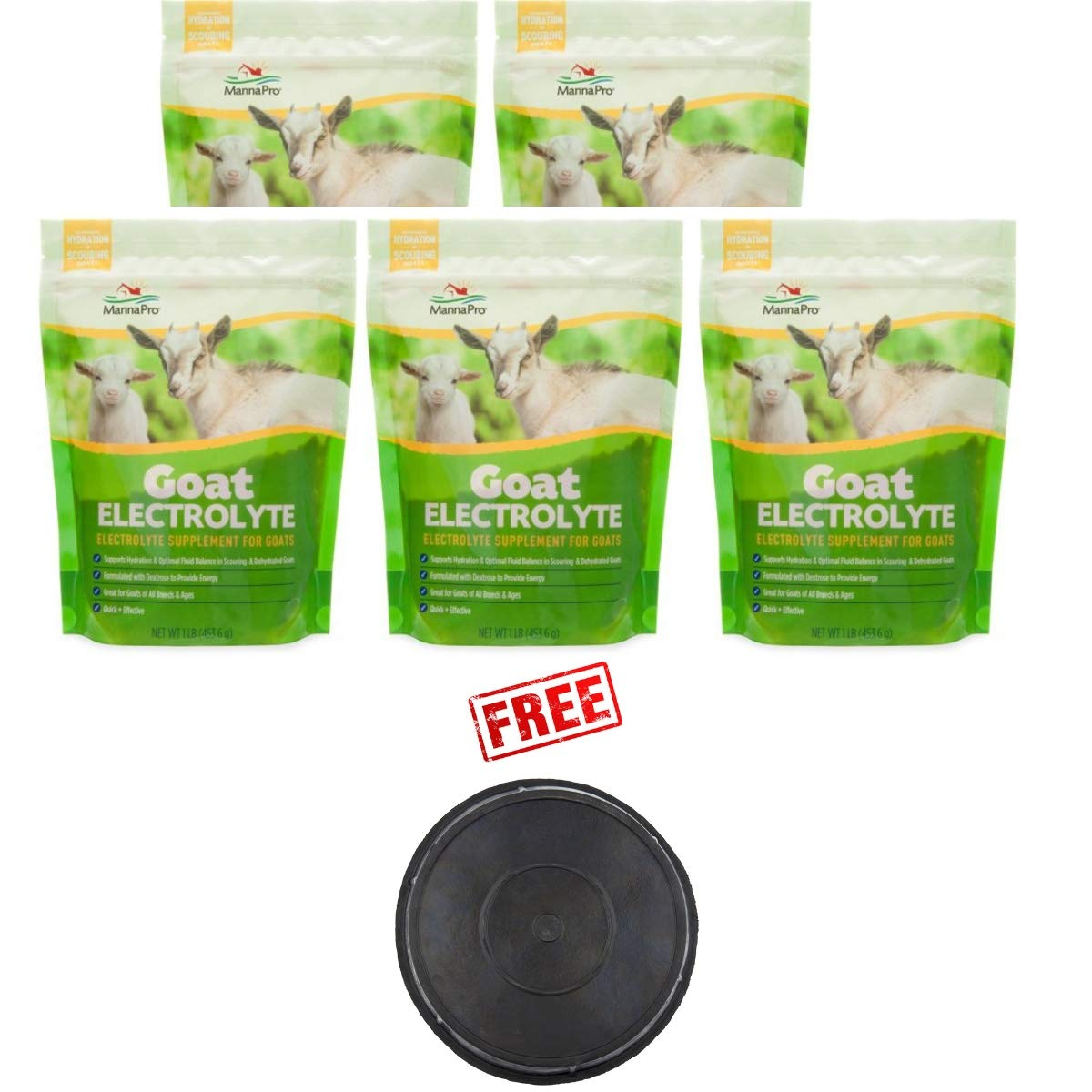 Manna Pro Pack of 5 Goat Electrolyte, 1 Pound, Supplement for Proper Hydration with Free! Buy More, Save More!