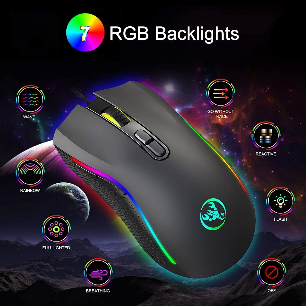 4 DPI Settings Up to 3200 DPI PC FAGORY Computer Laptop Mouse High Performance Wired Gaming Mouse Mac Plug /& Play for Laptop Windows USB Mouse with 7 Colors LED Backlight Gaming Mouse Wired