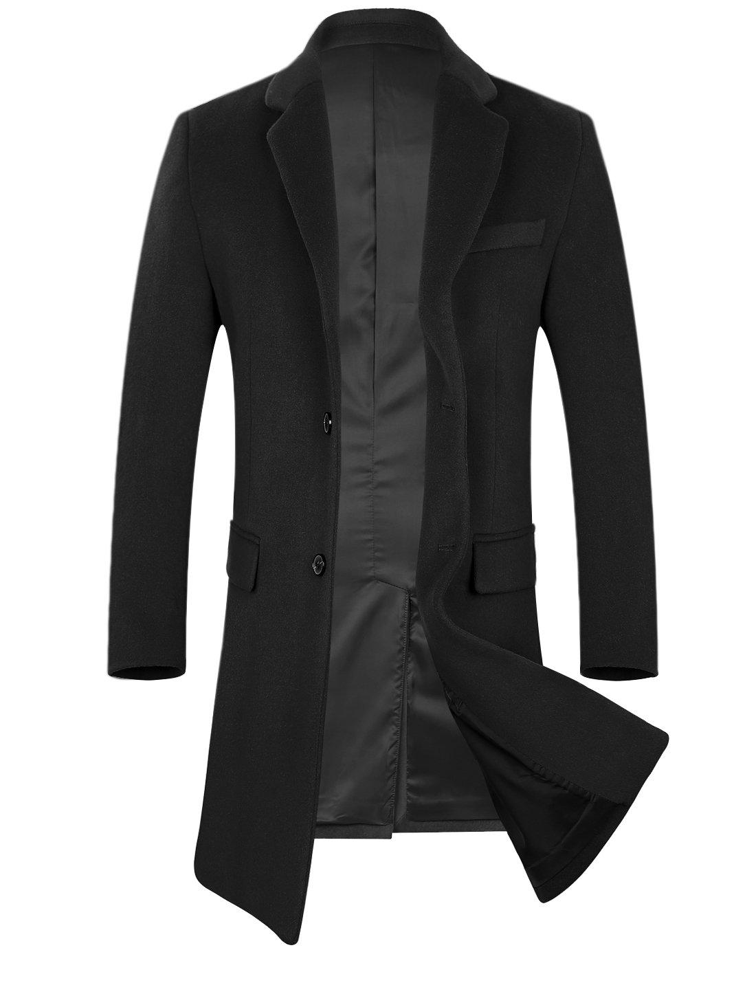 APTRO Men's Wool Coat Long Fashion Slim Fit Overcoat Jacket 1702 Black XL by APTRO