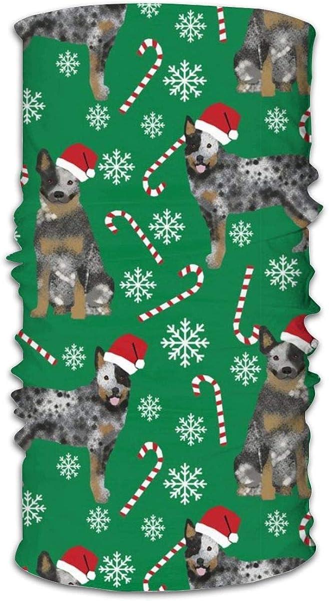 Mascarilla unisex multifuncional para perro de ganado australiano azul Heeler perro raza Navidad Bandanas verdes, deportivas y casuales para el cuello, pasamontañas, pañuelo para la cabeza