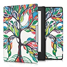 kwmobile Elegant synthetic leather case for the Kobo Aura H2O Edition 1 Design colorful tree in multicolor green white