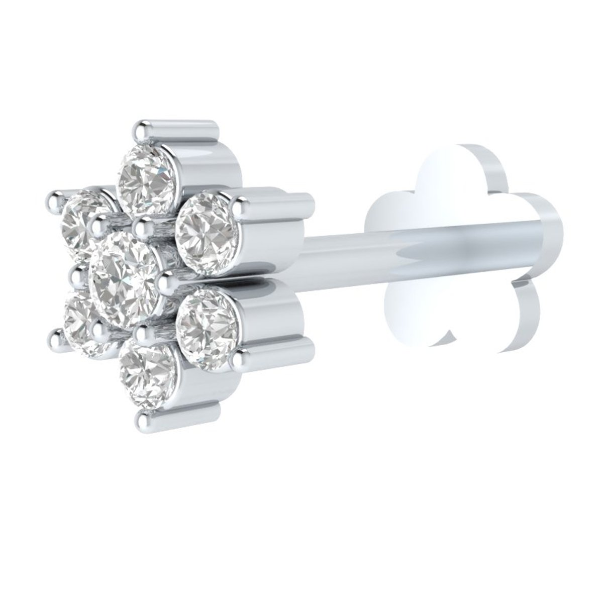 1.7mm Natural Diamond 14k Gold Nose Lip Labret Screw Stud Piercing Ring Pin 8mm