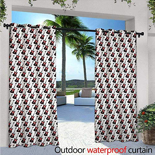 BlountDecor Guitar Balcony Curtains W72 x L108 Repeating Graphic Electric Guitars in Diagonal Order Rock Music Band Songs Outdoor Patio Curtains Waterproof with Grommets Red Black White
