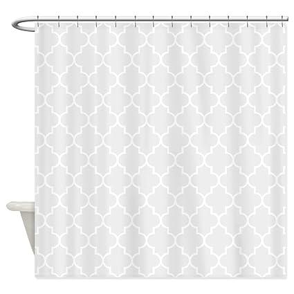 Amazon CafePress Light Grey Quatrefoil Shower Curtain