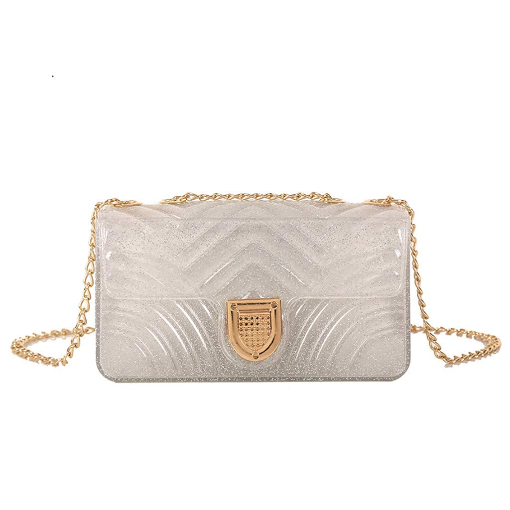 Purses, Bamboo Bag,Women Chain Shoulder Bag Fashion Wild Messenger Bag Small Square Bag Silver by Makeupstory (Image #2)