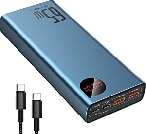Portable Charger USB C, Baseus 20000mAh Power Bank 65W PD3.0 QC3.0 Laptop Fast Charging 3 Outputs Compact Battery Pack Charger for MacBook Pro Dell XPS iPad Pro iPhone 12 Pro Mini Samsung Switch