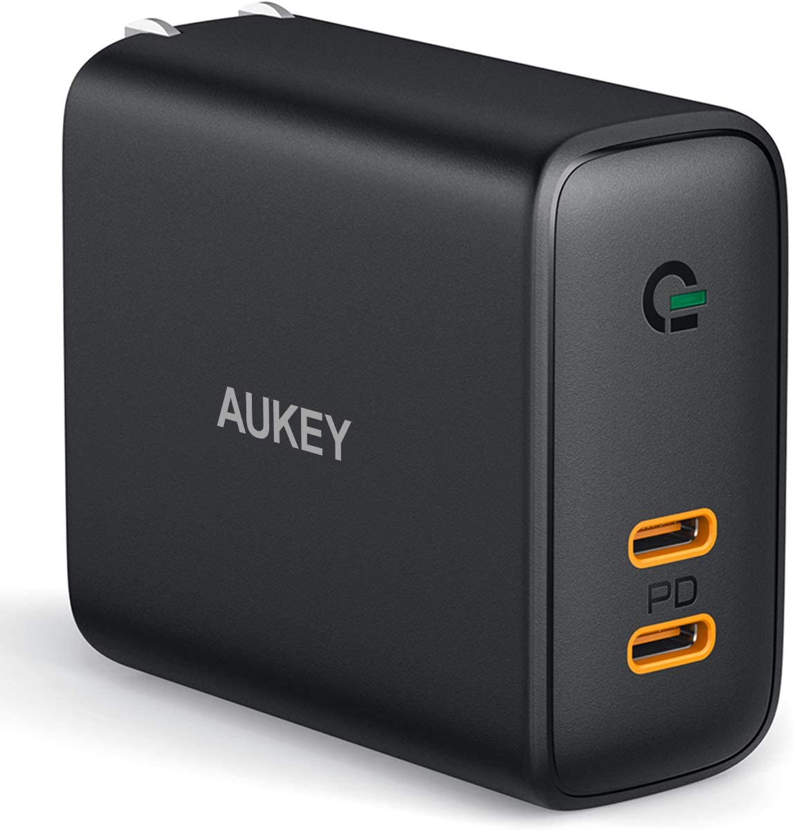 USB C Charger AUKEY 36W 2-Port Foldable Fast Charger with 30W Power Delivery 3.0 & Dynamic Detect Type C Wall Charger for iPhone 11 Pro Max SE, Galaxy S10, Pixel 4XL, MacBook, iPad, Airpods Pro Switch
