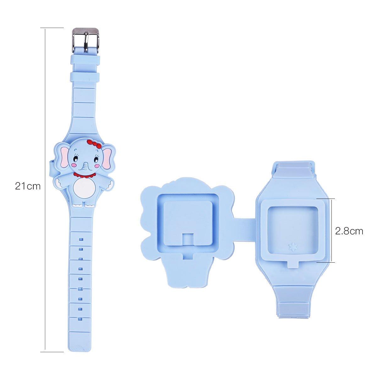 Reloj digital, LED para niños, niño y niña, silicona dibujos animados animales Reloj de pulsera LED digital electrónica reloj azul Talla:small: Amazon.es: ...