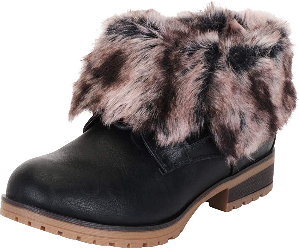 Black Pu Cambridge Select Women's Faux Fur Fold Over Cuff Chunky Lug Sole Ankle Bootie