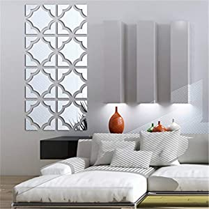 3D Mirror Wall Stickers, 4 Pcs Acrylic Crystal Art Wall Decal, Self Adhesive Removable Mirror Plastic Wall Sheet Tiles DIY Home Decoration for Living Room Bedroom Stair Wall Decor (8PCS, Square)
