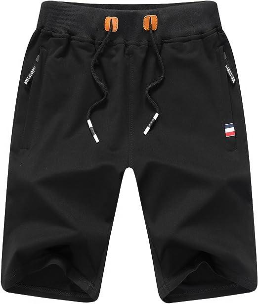 TALLA 42. Pantalones cortos deportivos para hombre de JustSun, estilo informal con cintura elástica y bolsillos con cremallera