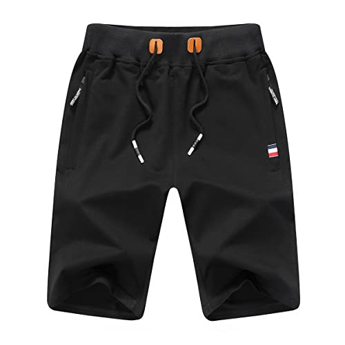 JustSun Mens Shorts Classic Casual Athletic Flat Front Sports Shorts with Elastic Waist Zipper Pockets STICKON