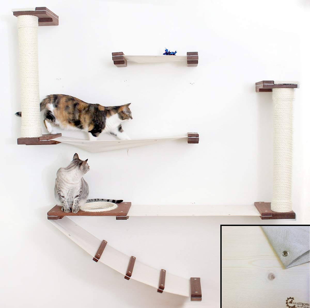 CatastrophiCreations Cat Mod Roman - Multiple-Level Cat Hammock & Climbing Activity Center - Handcrafted Wall-Mounted Cat Tree Shelves by CatastrophiCreations