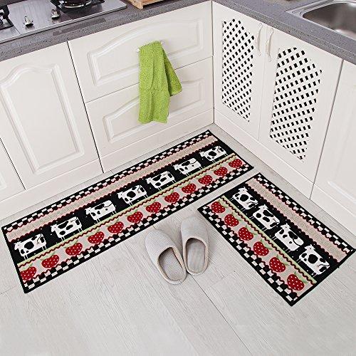 Carvapet 2 Piece Non-Slip Kitchen Mat Rubber Backing Doormat Runner Rug Set, Cartoon Milch Cow Strawberry Design (Black/Beige/Red 15″x47″+15″x23″)