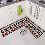 "Carvapet 2 Piece Non-Slip Kitchen Mat Rubber Backing Doormat Runner Rug Set, Cartoon Milch Cow Strawberry Design (Black/Beige/Red 15""x47""+15""x23"")"