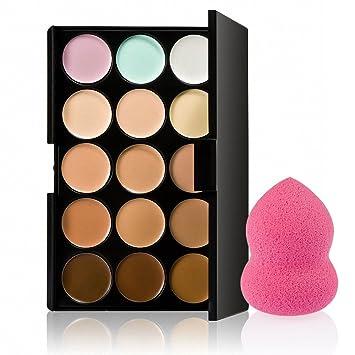 15 Colores Paleta De Contorno Corrector + 1 Belleza Maquillaje Impecable Batidora De Hojaldre: Amazon.es: Deportes y aire libre