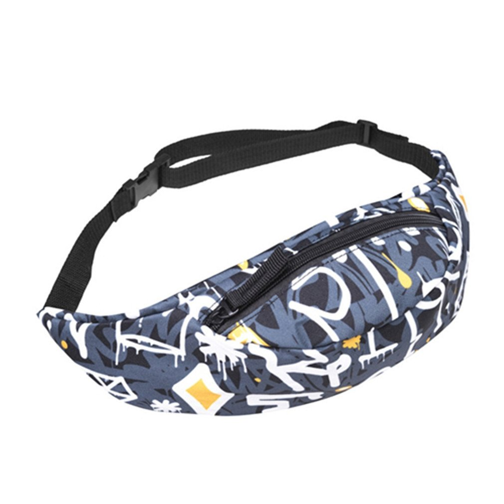 NEW Waist Back Full Bandana Black 3D Printing Fashion Waist Bag LS2-8