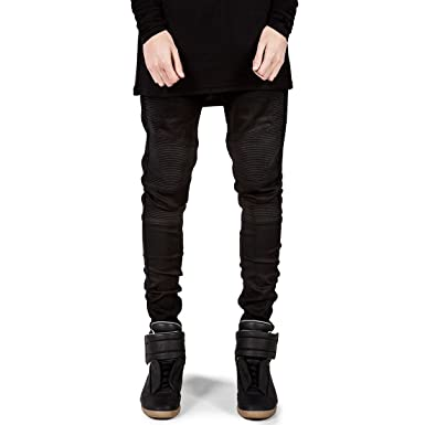 4c4497b2 GWELL Mens Slim Fit Biker Jeans Pleat Denim Jeans: Amazon.co.uk: Clothing