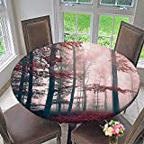 Mikihome Premium Tablecloth al Foggy Fall and Enchanted Woods Wild Trees Print ES Red Gray and Brown Everyday Use 40''-43.5'' Round (Elastic Edge)