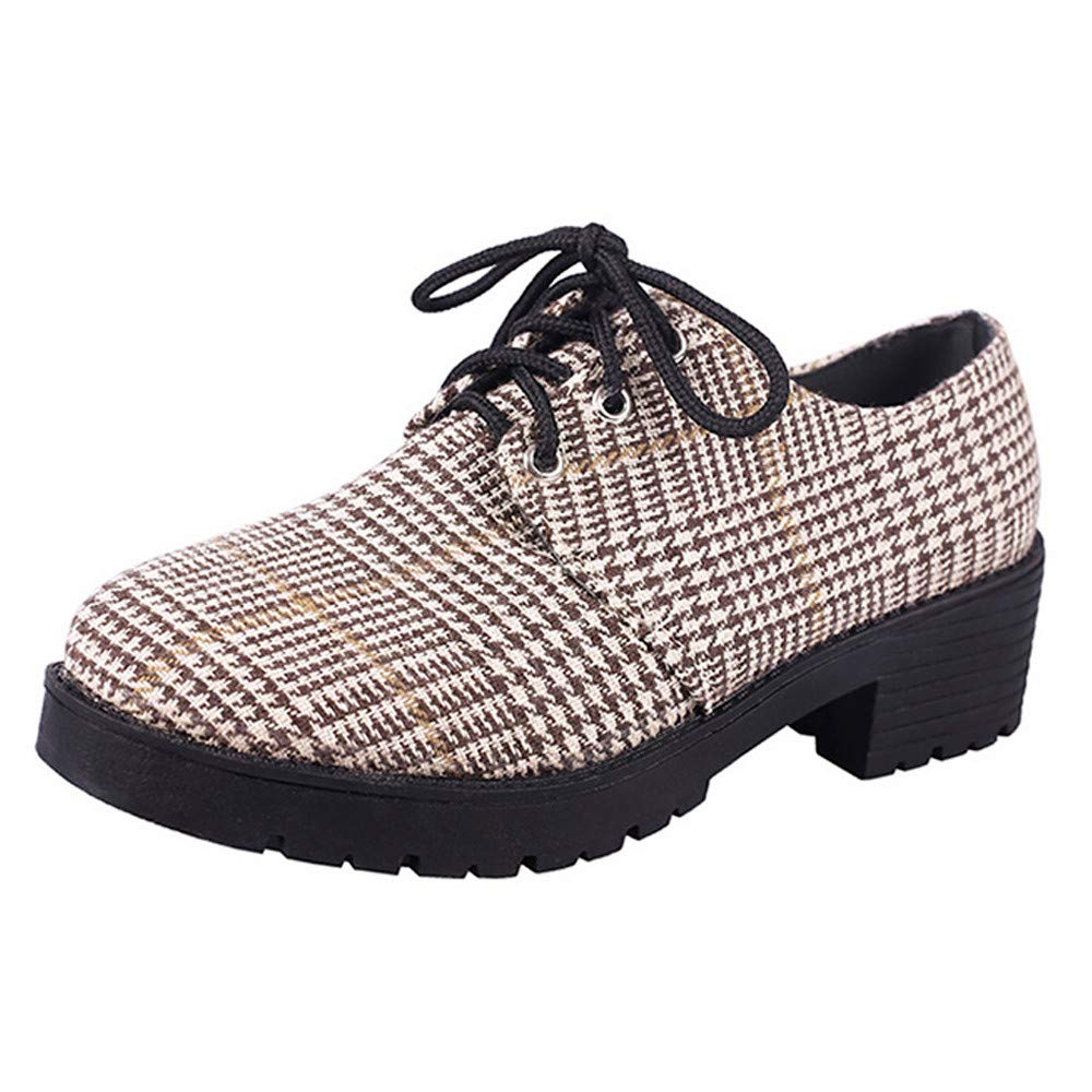 Dacawin Fashion Womens Gingham Short Boots Casual Lace Up Round Toe Ankle Flat Leather Shoes