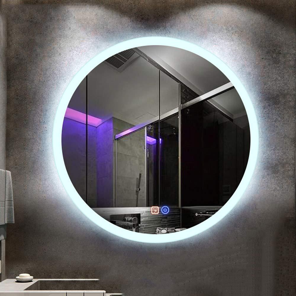 Bathroom mirror Specchio da Bagno Rotondo Touch 60//70 Cm A Parete Senza Cornice Specchio Moderno Illuminazione LED Specchio Anti-Appannamento