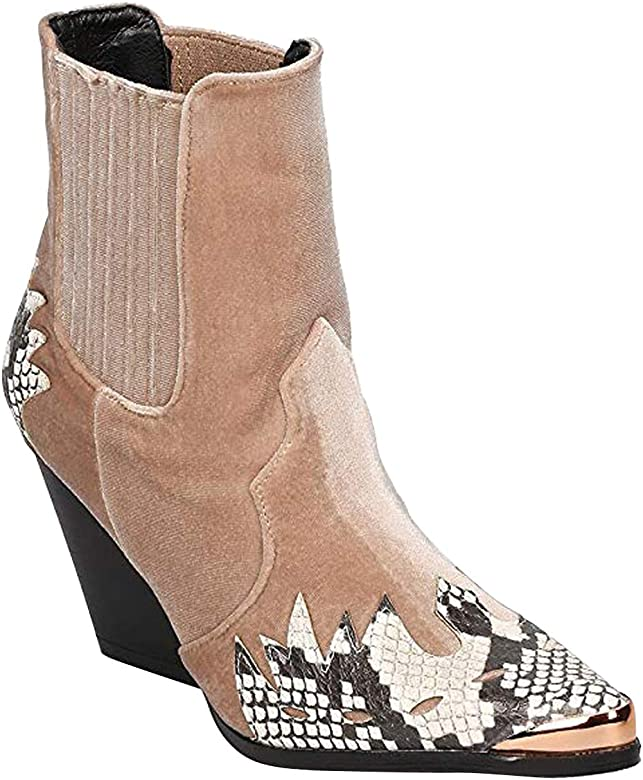af5f8827797 Women Mixed Media Pointy Toe Flame Pattern Cowboy Bootie HJ88