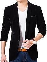 ARRIVE GUIDE Mens Casual One Button Velvet Notched Lapel Blazer Jacket Coat