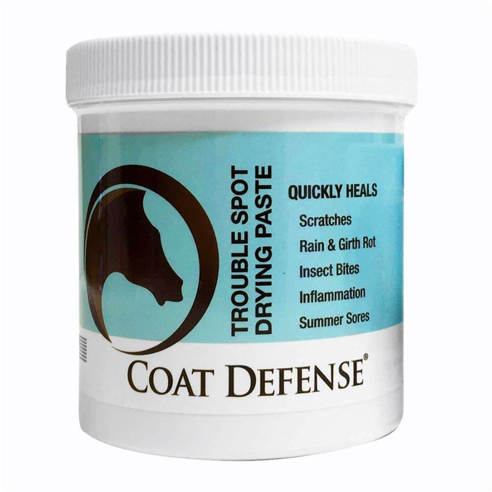 Coat Defense Drying Paste for Horses. Treat Summer Sores, Sweet Itch, Mud Fever, Scratches, Rain Rot, Girth Rot, Proud Flesh, Insect Bites. Protects, Dries, Soothes. Safe. Talc-Free. 10 Ounce Jar.