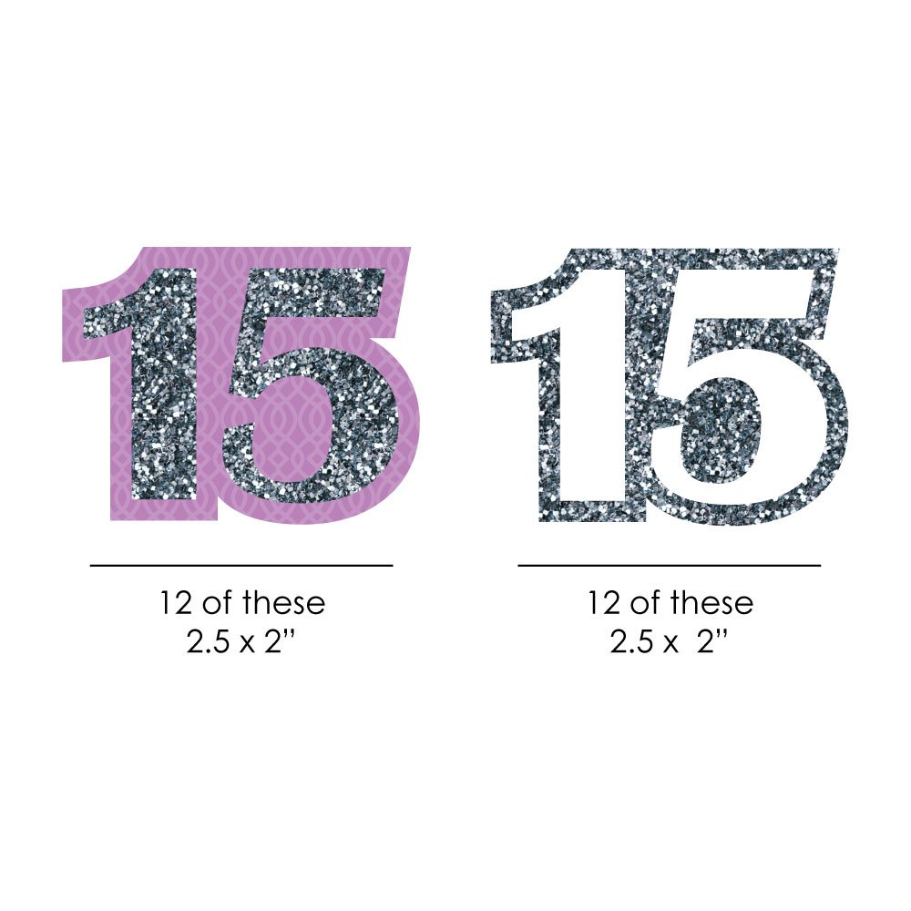 24 Count Sweet 15 DIY Shaped Birthday Party Cut-Outs Big Dot of Happiness Quinceanera Purple