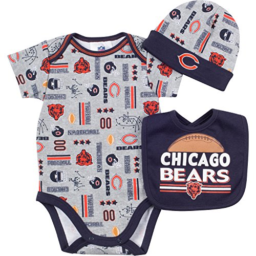 NFL Chicago Bears Bodysuit, Bib & Cap Set (3 Piece), 0-3 Months, Gray