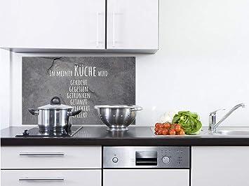 GRAZDesign Spritzschutz Küche Glas Steinoptik - Wandpaneele Küche lustiger  Spruch - Fliesenspiegel Küche Granitoptik - Küchenrückwand Glas ...