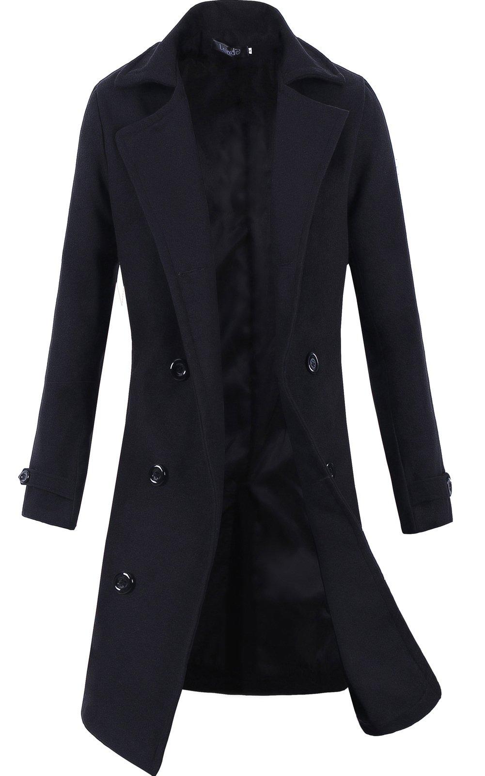 Lende Men's Trench Coat Winter Long Jacket Double Breasted Overcoat Black XL by Lende