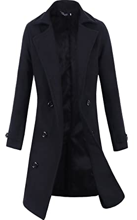 Lende Men's Trench Coat Winter Long Jacket Double Breasted ...