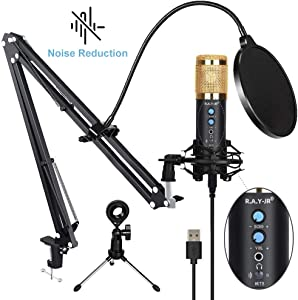 Newest USB Microphone for Computer, with Noise Reduction, Mute Key, Mic Gain/Echo Knob, PC Microphone Kit with Adjustable Metal Arm Stand, Great for Gaming, Podcast, LiveStreaming, Recording, Golden