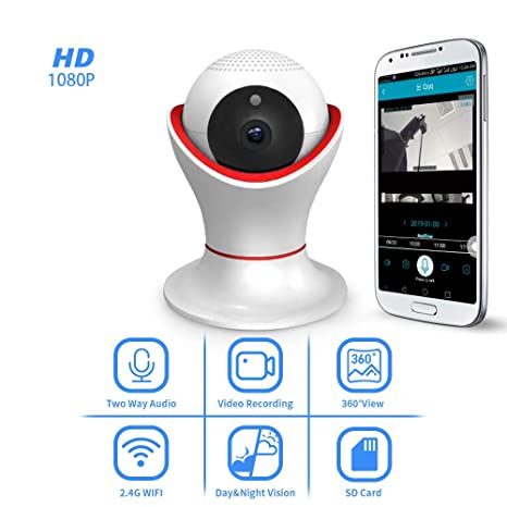 Security Camera-HD1080P 2 4G WiFi 2-Way Audio Night Vision Motion Detect IP  Camera CCTV Monitor Surveillance Cameras for Home Office Basement Nanny