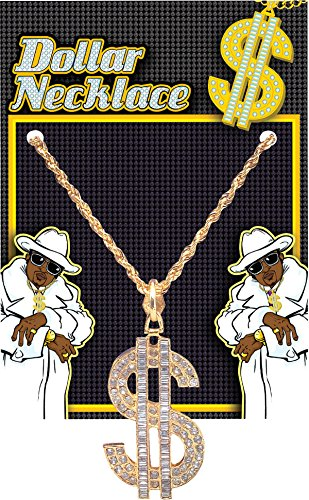 Adult Men's 70's Daddy Pimp Gangster Fancy Party Dollar Necklace Superior - Necklace Daddy Pimp
