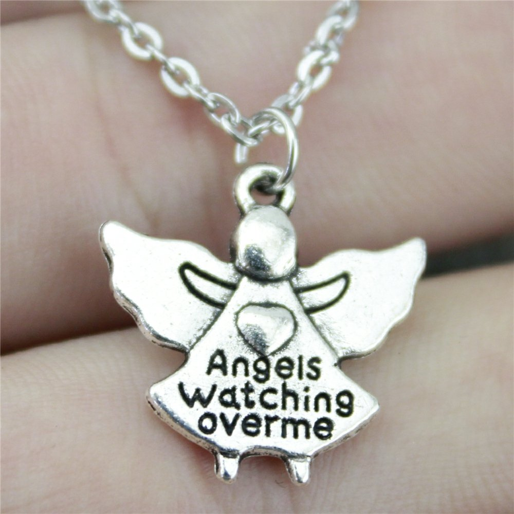 NEWME Angels Watching Over Me Charms Metal Chain Necklace For Anniversary Jewelry Box Gifts