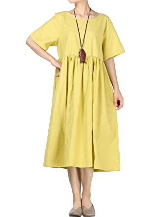 10bcebaae6 Amazon.com  Mordenmiss Women s Cotton Linen Dress Summer Midi Dresses with  Pockets (M Yellow)  Clothing