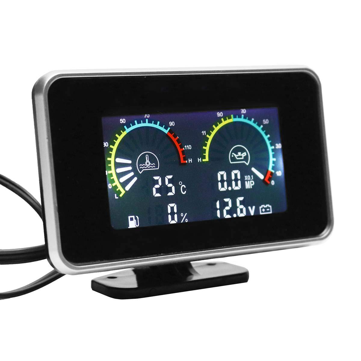 Semoic 4-in-1 LCD Car Digital LCD Instrument Indicatore di Pressione Dellolio Voltmetro Indicatore Livello Carburante Indicatore Temperatura Acqua Orologio Congiunto M10