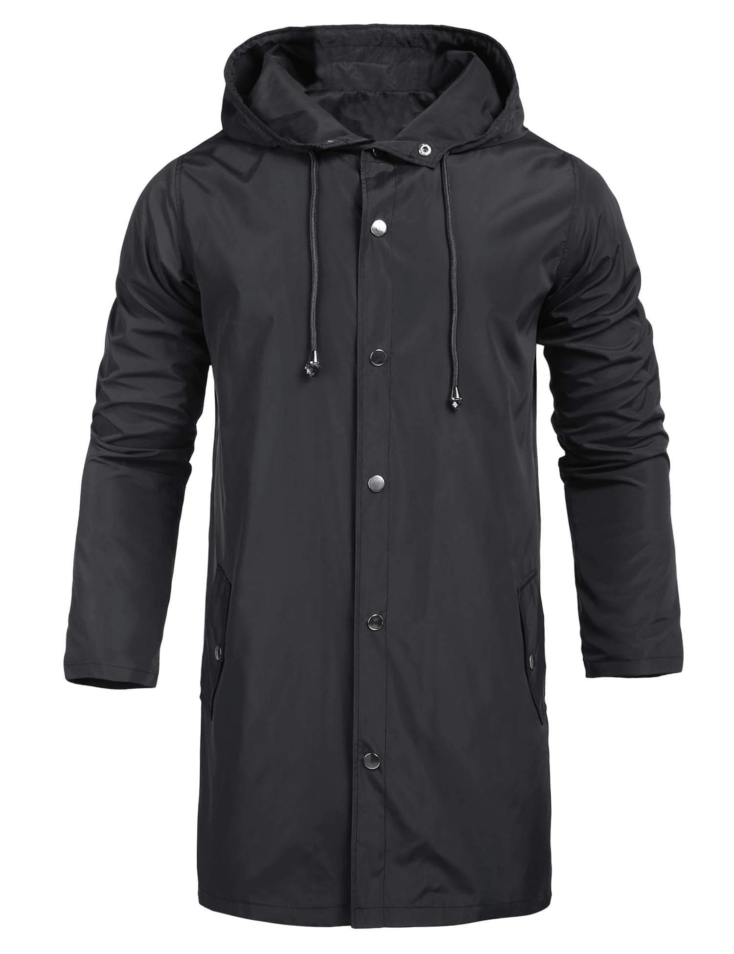 UUANG Mens Jacket Lightweight Windproof Raincoat Mens Waterproof with Hood Long for Any Outdoor Activities Black by UUANG