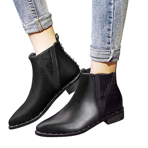 SANMIO Botas De Tobillo De Mujer De Moda, Botas De Trabajo De Cuero Planas Negras Primavera Botas De Bota De Tobillo De Chelsea: Amazon.es: Zapatos y ...