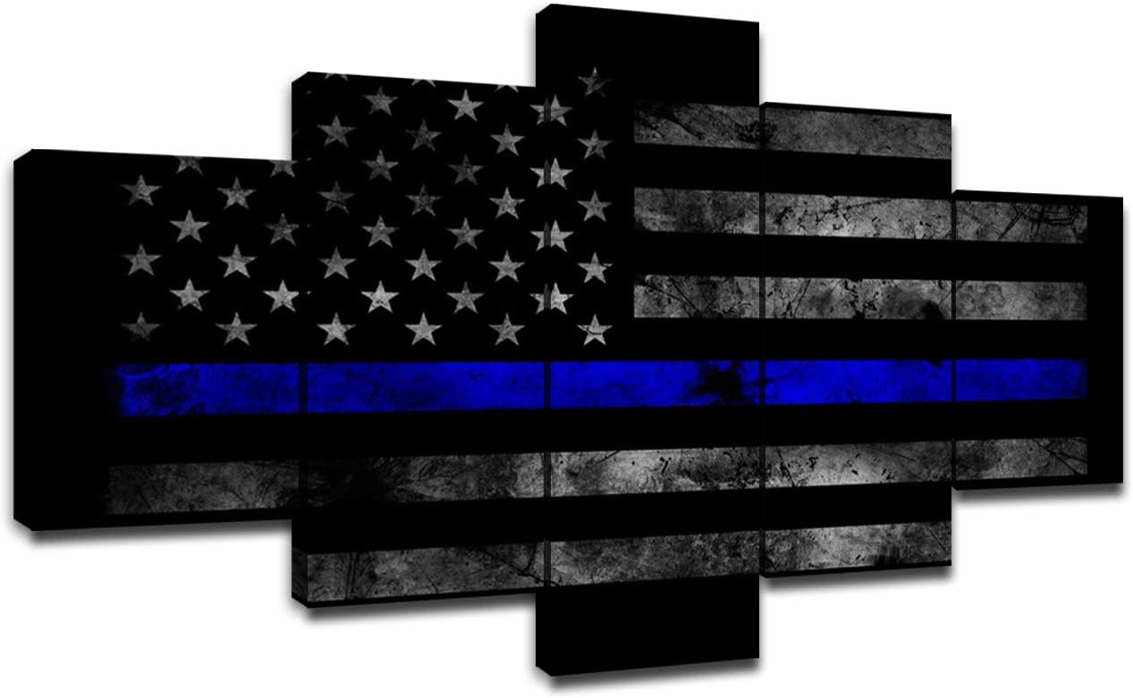 Chicicio Wall Pictures for Living Room Large Canvas Printing Wall Art American Police Flag Poster Modern Bedroom Decor Decoration Artwork 5 Panel Painting Wooden Framed Ready to Hang(60''Wx32''H)