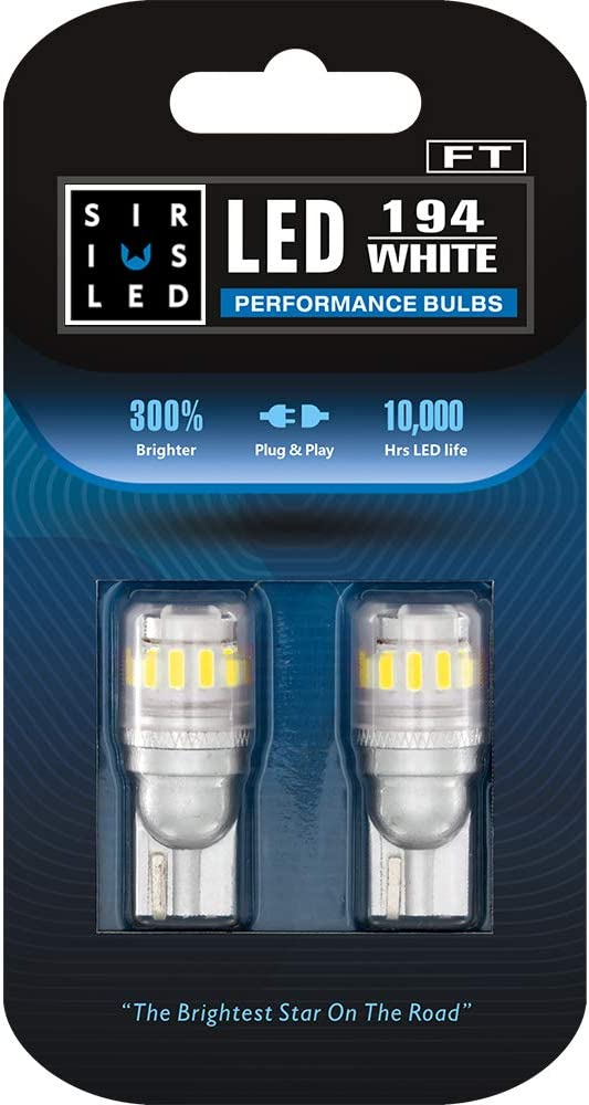 SIRIUSLED - FT- 194 912 Side Marker LED Light Car Interior, Map, Dome, Trunk, Backup Bulb High Power 3030 + 4014 SMD Super Bright Pack of 2 (White)