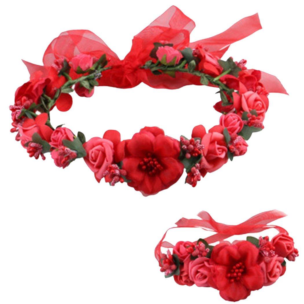 Love Sweety Rose Flower Crown Wreath Wedding Headband Wrist Band Set (Red)
