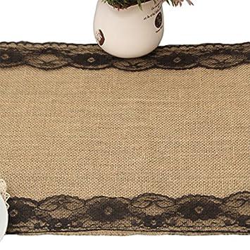 Camino de mesa de arpillera con encaje de arpillera Beesclover decoraci/ón para bodas 30 * 275CM fiestas mantel de yute azul