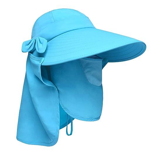 f1ba591d254 Lenikis Women s UPF50+ Sun Visor Foldable Wide Brimmed UV Protection Hat  with Detachable Flaps Blue